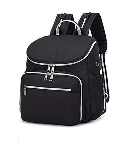 Luier rugzak, luiertas voor baby's, rugzak en USB-aansluiting, geïsoleerde zakken, multifunctionele waterdichte reisrugzak voor babyverzorging, grote capaciteit, blue (zwart) - XHCBOOK