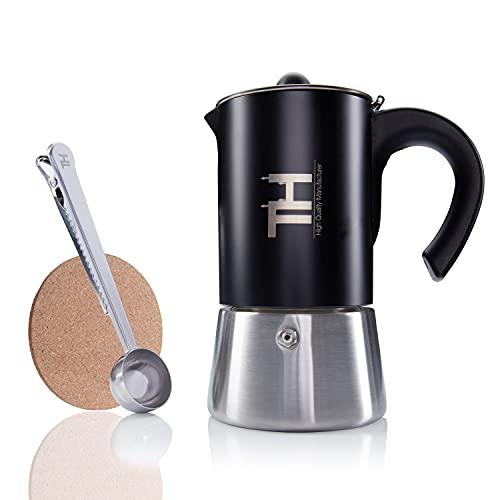 Thiru Espressokocher Induktion| Premium Mokkakanne aus Edelstahl inkl. Toolset (Schwarz, 6 Tassen (300ml))