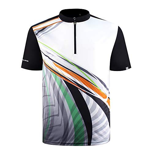 SAVALINO Men's Bowling Sublimation Printed Jersey, Material Wicks Sweat & Dries Fast Black