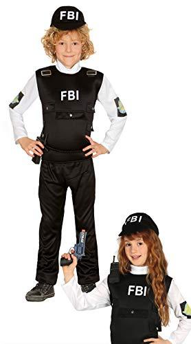 Guirca - Kostüm Agent F.B.I. Größe 10/12 Jahre, Farbe schwarz, 10-12 (142-148 cm), 85963