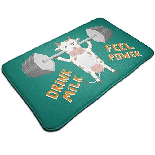 Bag shrots Indoor and outdoor door decoration mat Indoor Carpet Doormats with Weightlifting Cow, 19.5''Wx31.5''L