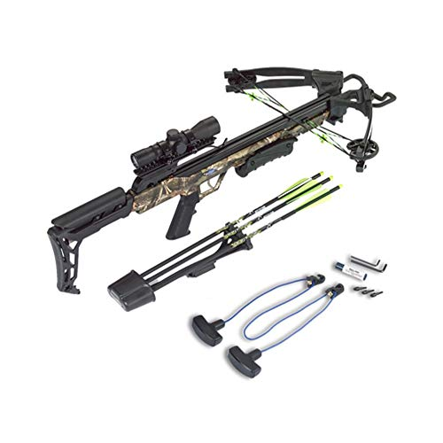 Carbon Express 20244 X-Force Blade Crossbow Kit in Camo with Scope, Bolts Quiver, Practice Tips, Rope Cocking Tool & Rail Lube