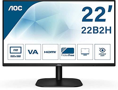 AOC 22B2H 54 cm (21.5 Zoll) Monitor (VGA, HDMI, 1920 x 1080 Auflösung, 75 Hertz, 6 ms Reaktionszeit) schwarz