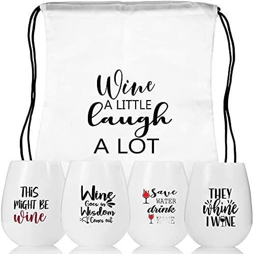 Weinglas to go, Silikon Weingläser Set 4 Wein Geschenk weinglas mit gravur Unzerbrechliche Wein to go Gläser Rotweingläser Weingläser plastik für Camping Reisen, draussen, Picknick