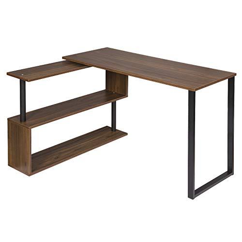 WOLTU® Schreibtisch TS65dc Eckschreibtisch Winkelschreibtisch Winkelkombination Computertisch Bürotisch Arbeitstisch PC Laptop Tisch, mit Ablagen, 120x100x74cm(BxTxH), MDF, Dunkelbuche