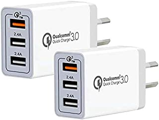 Quick Charge 3.0 Wall Charger with AU Plug, WIKDJ 30W Fast Charging Adaptive USB Plug Compatible with Samsung Galaxy S10 S...