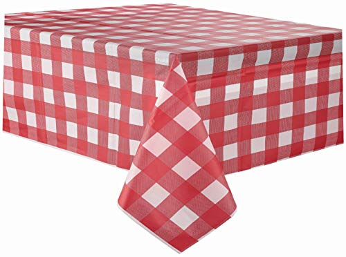 Red Gingham Checkered Plastic Tablecloth 3 Pack Disposable Table Covers 54 x 108 Inch Party Tablecovers Vinyl Buffalo Plaid Table Cloth for Rectangle Tables Upto 8 ft and Picnic BBQ Family Outings