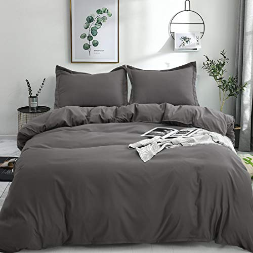 Balichun Duvet Cover Set King Size Premium with Zipper Closure Hotel Quality Wrinkle and Fade Resistant Ultra Soft -3 Piece-1 Microfiber Duvet Cover Matching 2 Pillow Shams (Black, King)