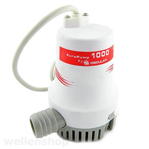 wellenshop universelle 24 V elektrische Bilgepumpe 3850 l/h weiß mit Saugkorb Wasserpumpe Bilge Boot Lenzpumpe Tauchpumpe