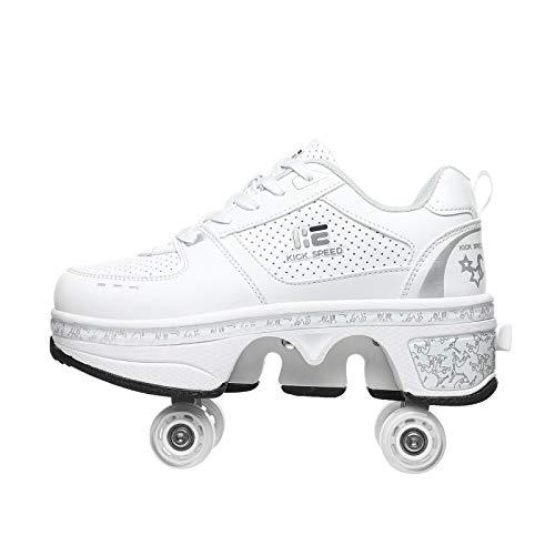 KUXUAN Rollschuhe Damen/Mädchen/Kinder,Schuhe Mit Rollen Skateboardschuhe , Verstellbare Quad-Rollschuh-Stiefel Unisex-Kinder Skateboard Schuhe,White-EU41=UK7