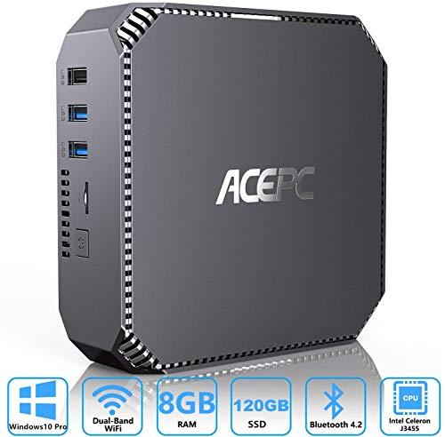 ACEPC Mini PC Windows 10 Pro, 8GB DDR3 120GB m-SATA SSD Intel Celeron J3455 Mini Desktop Computer, Unterstützung für 2,5 '' SSD/HDD, 4K HD, Dual-Band WLAN, Gigabit Ethernet,Dual HDMI