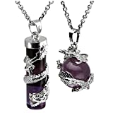Jovivi 2pc Dragon Wrapped Natural Amethyst Round Ball Cylinder Gemstone Healing Crystal Pendant Necklace Set