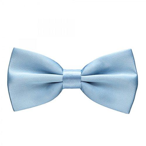 Rusty Bob - Fliege in Uni - Schleife gebunden und verstellbar (12cm x 6,5cm) - für die Hochzeit, die Konfirmation, zum Anzug oder Smoking - Hellblau