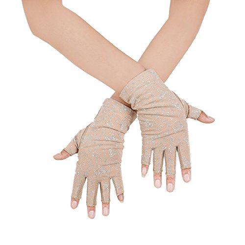 JISEN Fingerlose Handschuhe für Damen, UV-Schutz, zum Autofahren, Angeln, Baumwolle, Khaki1, Einheitsgröße