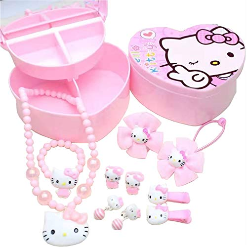 Hello Kitty Jewelry Set, Hello Kitty 10 Pieces Pink Kitty Jewelry- Hello Kitty Necklace, Bracelet, Earring, Hair Accessory, Kitty Cat Ring etc, Pink Hello Kitty Accessories with Hello Kitty Box.