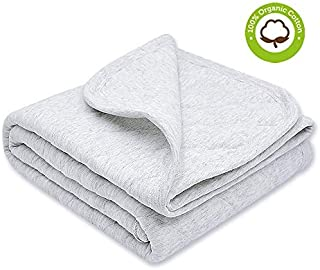 Organic Cotton Baby Blanket Warm, Breathable and Super Soft Quilted Toddler Blanket for Boys and Girls - Hypoallergenic Thermal Crib Blanket Thick and Light Weight 39x39 Inches Large -Gray
