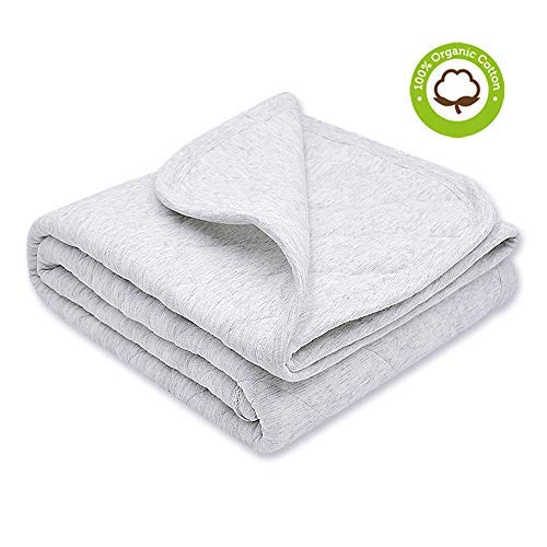 Zenssia Organic Cotton Baby Blanket Warm Breathable and Super Soft Quilted Toddler Blanket for Boys and Girls  Hypoallergenic Thermal Crib Blanket Thick and Light Weight 39x39 Inches Large Gray