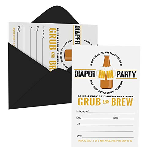 Daddy Diaper Shower Invitations (15 Guests) Baby Brewing Pamper Party – Coed Sprinkle - Black and Gold - Set of DIY Fill in Blank Invite Cards and Envelope Pack