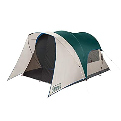 Coleman Cabin Camping Tent with Screen Room | 4 Person Cabin Tent with Screened Porch, Evergreen