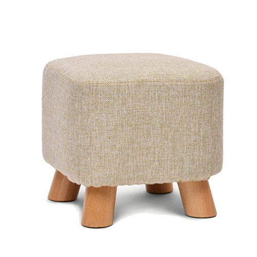 UUSSHOP Wooden Support Upholstered Footstool Ottoman Pouffe Padded Chair Stool with Removable Linen Cover 4 Beech Legs (29x29x29cm, Square-Beige)