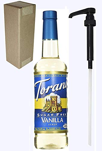 Torani Sugar Free Vanilla Flavoring Syrup, 750mL (25.4 Fl Oz) Bottle Individually Boxed, With Black Pump