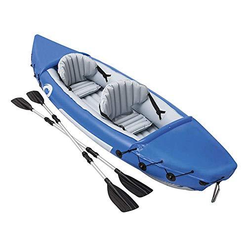 SANON Kayak con remos, 2 Asientos inflados 2 Capacidad Persona, extraíble Aleta, Azul WTZ012