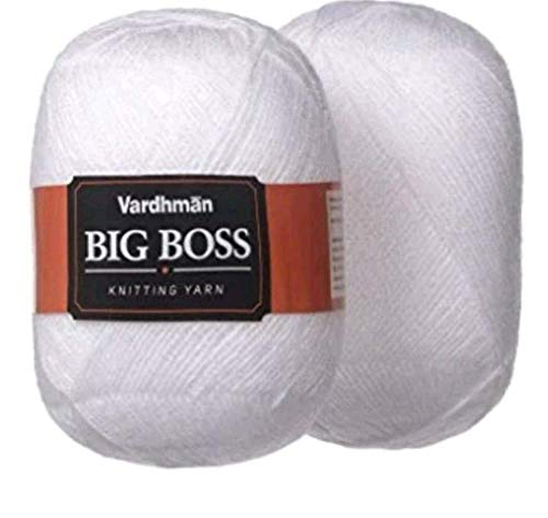 Vardhman Original Wool Big Boss Soft Fingering Hand Knitting Dyed White Shade Wool Crochet Hook Yarn (3 Balls (600 Grams))