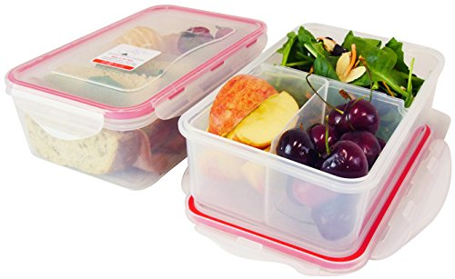 Bento Lunch Box, Meal Prep Containers, Set of 2, Configurable compartments...