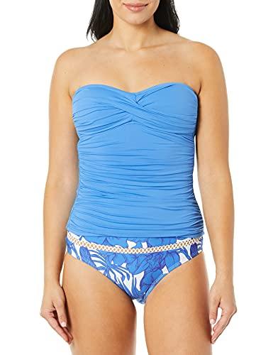 La Blanca Women's Standard Bandeau Tankini Swimsuit Top, Chambray//Island Goddess, 6