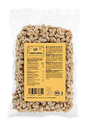 KoRo - Bio Cashewkerne mit Honig und Zimt 1 kg - Aromatischer neuartiger Snack in Vorteilspackung frei von Konservierungsstoffen vielseitig als Snack oder Topping verwendbar