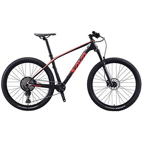 "SAVADECK Flamme1.0 Carbon Mountainbike 27.5""/29"" Kohlefaser Rahmen Hardtail Mountain Fahrrad Ultraleichtes XC MTB mit 12-Gang Shimano Deore M6100 Groupset (Schwarz Rot, 29 * 19'')"