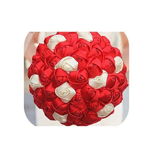 Satin Ribbon Rose Flower Wedding Bouquets Bridal Bouquet Flower Red Ivory Boque Noiva Custom W223 16,18Cm Choose Color