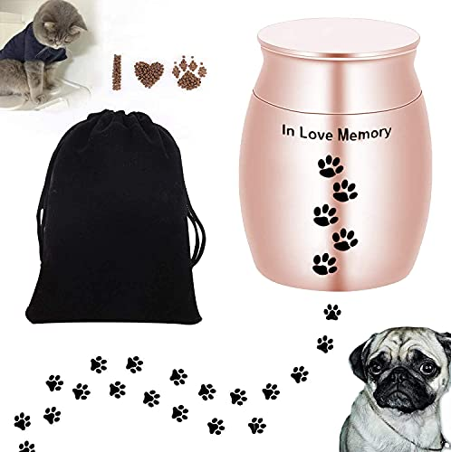 Broadsheet Best Friend Services Pet Urn-Pet Urns for Dogs Ashes, Dog Urn Cat Urn, Small Cremation Urn for Pet Ashes, 2 inches Mini Pet Paw Keepsake Urn Stainless Steel Memorial Keepsake