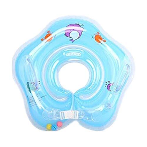 Salvagente Collo Neonato - Anello gonfiabile da nuoto con galleggiante per piscina a 2 maniglie per bambini - Gonfiabile Regolabile Doppio Airbag Salvagente Neonate per 1-18 Mesi Baby