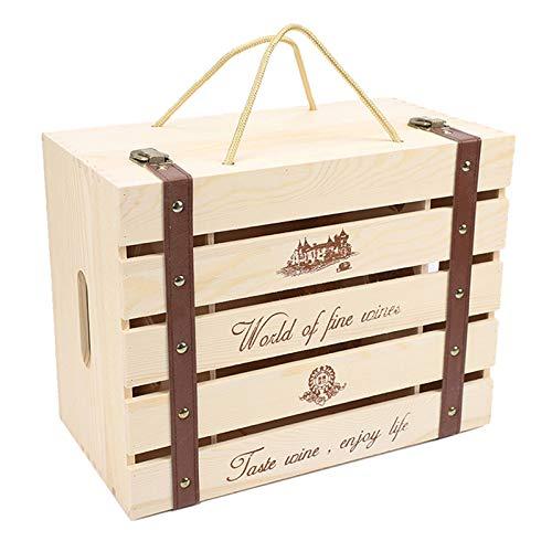 Generic Vintage Holz Weinkiste Lagerung Champagner Allzweck für 6 Flaschen