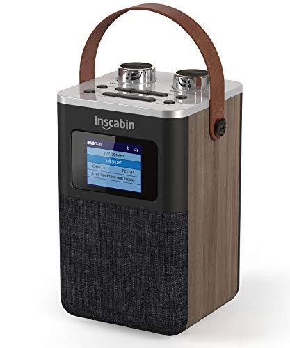 Inscabin P7 Tragbares DAB / DAB + FM-Digitalradio / Tragbarer drahtloser Lautsprecher mit Bluetooth / Stereo-Sound / Doppelwecker / Akku / Schönes Design / Holz