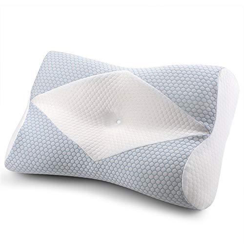MyeFoam 枕 安眠 まくら 低反発ピロー 中空設計 頭・頚部・肩をやさしく支える 快眠枕 仰向き 横向き 洗える ライトブルー