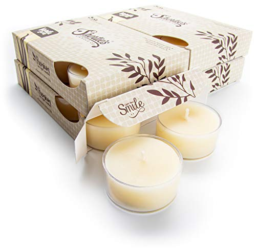 Vanilla Bean Tealight Candles Bulk Pack (24 Beige Highly Scented Tea Lights) - Made with Natural Oils - Clear Cup for Beautiful Candlelight - Bakery & Food Collection
