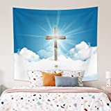 Leowefowa 59.1'x51.2' Easter Tapestry Wall Hanging Jesus Christ Resurrection Tapestries Holy Aura Wall Decor Blue Sky and Cloud Room Decor Cross Blanket Print Art For Living Room Bedroom Dorm