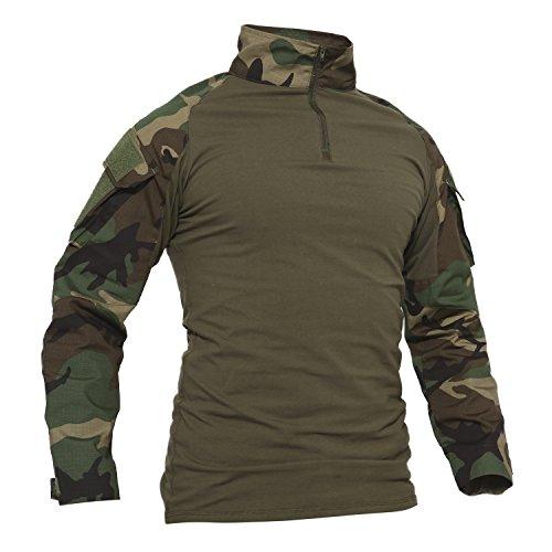 TACVASEN Camo Shirt Herren Outdoor Angeln Hemd Baumwoll Camouflage Cotton Sport T-Shirt Langarm Draussen Fishing Shirts Woodland XL,CN 3XL