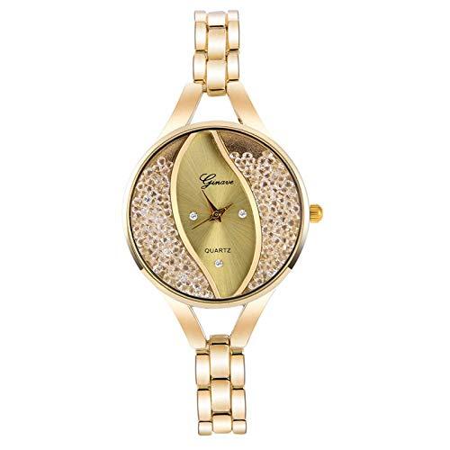 SUZHENA Reloj Relojes de Mujer Los más vendidos destacados Dentro del dial Forma de Hoja de Diamantes de imitación Creativa Uno de los Mejores Regalos, Oro