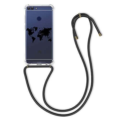 kwmobile Funda con Cuerda Compatible con Huawei Enjoy 7S / P Smart (2017) - Carcasa de TPU con Colgante Mapa del Mundo Negro/Transparente