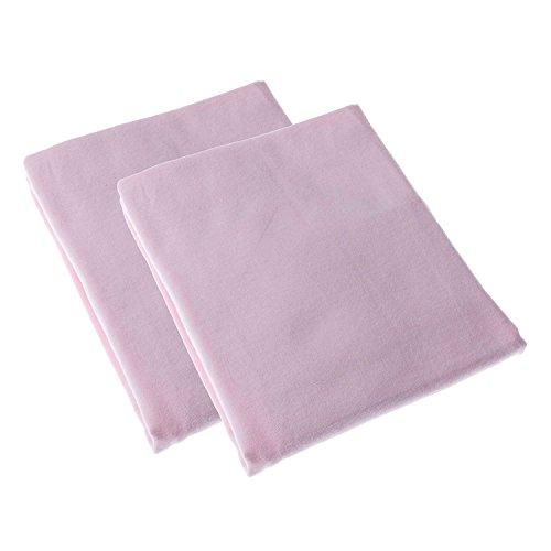HOMESCAPES - Lot de 2 draps Housses Rose pour Poussette 100% Coton - 30 x 73 cm