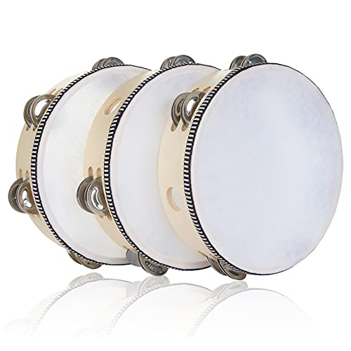 3 Pack 8 inch Tambourine for Adults Hand Held Wood Tambourine Metal Jingles Musical Educational Instrument Rhythm Percussion Tambourine for KTV, Party, Church (Single Row)