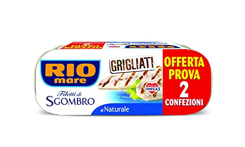 Rio Mare - Filetti di Sgombro Grigliati al Naturale, Ricchi di Omega 3, 2 Lattine da 120 g