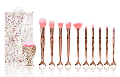Kit com 11 pincéis de maquiagem Pincel Sereia (Dourado)