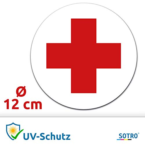 Aufkleber Deutsches Rotes Kreuz DRK Ø 12 cm für Verbandskasten, Hinweis-Aufkleber Rotkreuz-Symbol, Ersthelfer-Ausrüstung oder Medizinschrank, Erste Hilfe, Wetterfest