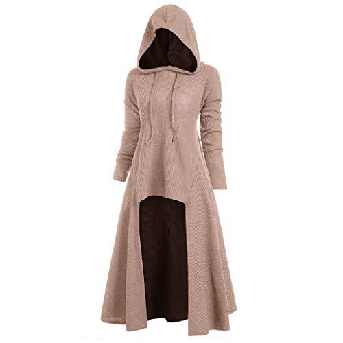 VEMOW Karneval Cosplay Party Ballkleid Damen Mode Langarm Mit Kapuze Mittelalterliches Kleid Bodenlangen Cosplay Kleid(X1-Rosa, 38 DE/XL CN)