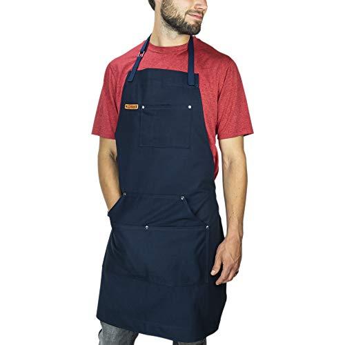 Chef Pomodoro Kochschürze für Männer und Damen - Küchenschürze mit flexiblen Taschen - Hochwertige Schürze zum Grillen, Kochen, Zuhause, Einheitsgröße, 100% Baumwolle (Dunkelblau)