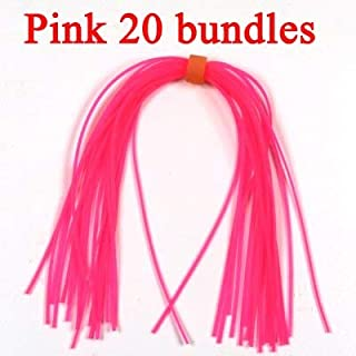 Fishing Lures - 20 Bundles Silicone Skirts for Spinnerbait Buzzbait Rubber Jig Lures Squid Skirts Fly Tying Material Red Orange Green Pink Bule - (Color: Pink 20 Bundles)